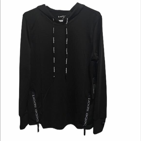 bebe Sweaters - Bebe Women's black hooded sweater large NWT